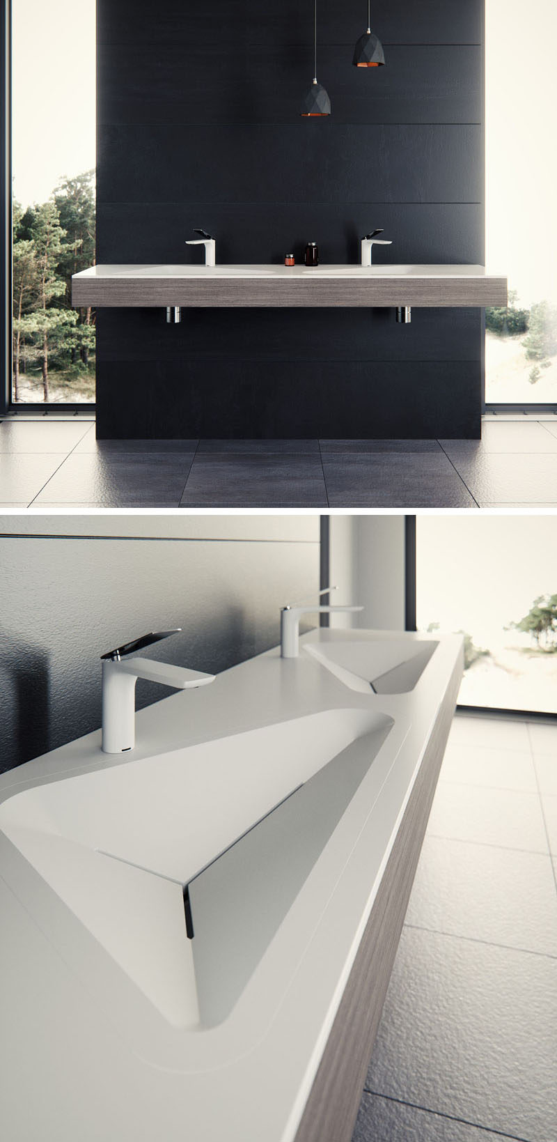 Le Projet have designed a modern bathroom sink that has contemporary crisp lines and geometric shapes. #BathroomDesign #BathroomSink #ModernBathroom