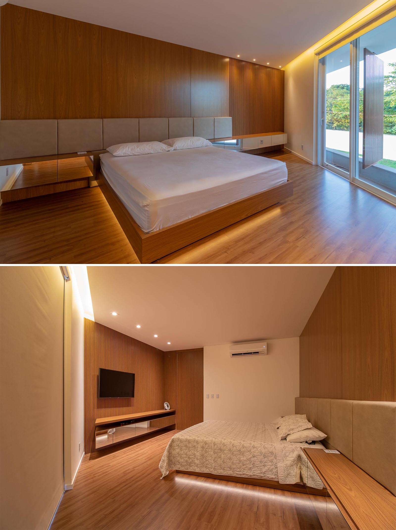 In this modern bedroom, hidden lighting is featured under the bed and along the one edge of the ceiling.