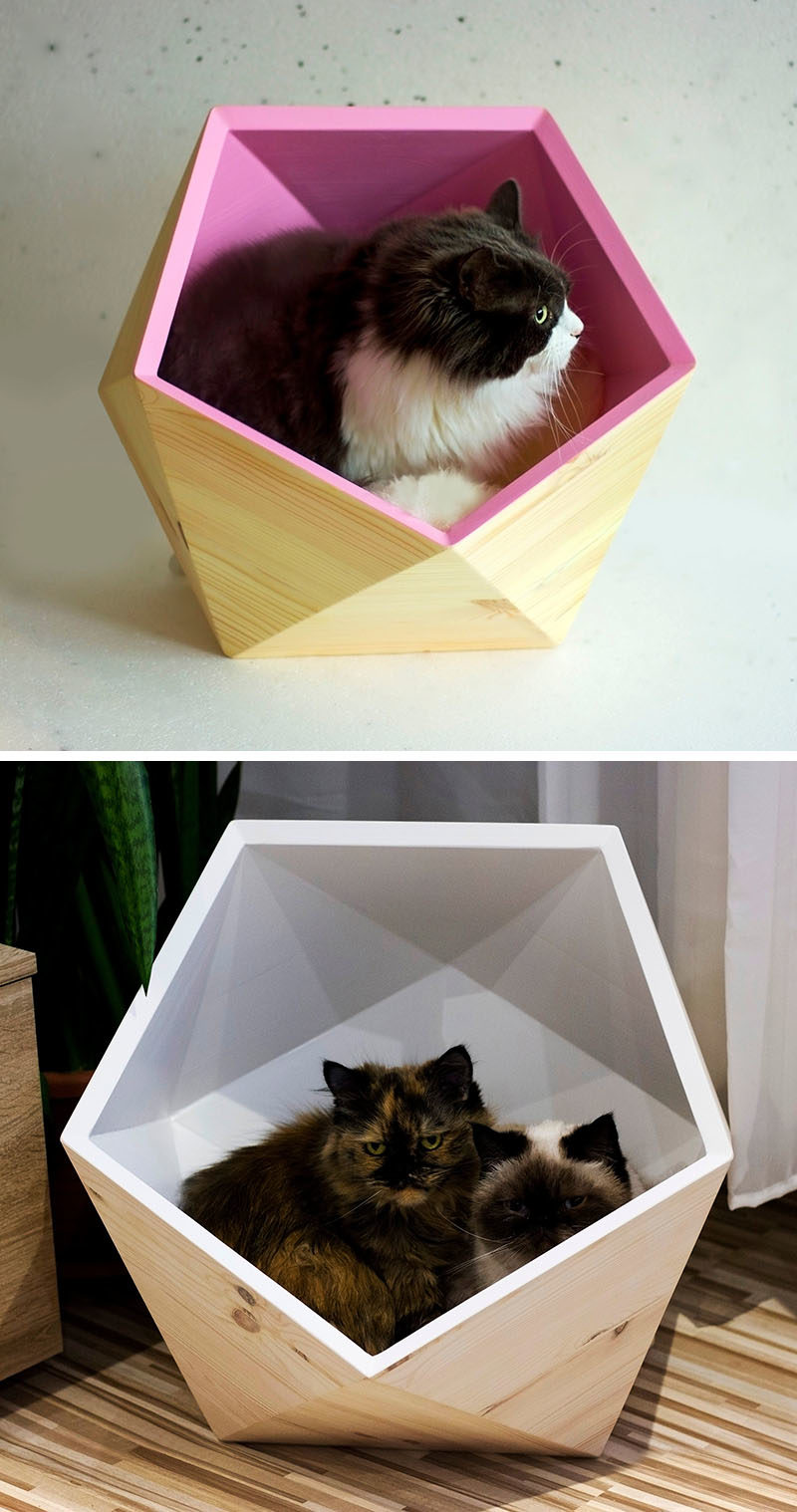 Ilshat Garipov of Catissa has designed a collection of modern cat beds and modular cat houses, that are made from pine wood and finished with sheepskin or faux fur. #ModernCatBed #ModernCatFurniture #ModernPetBed