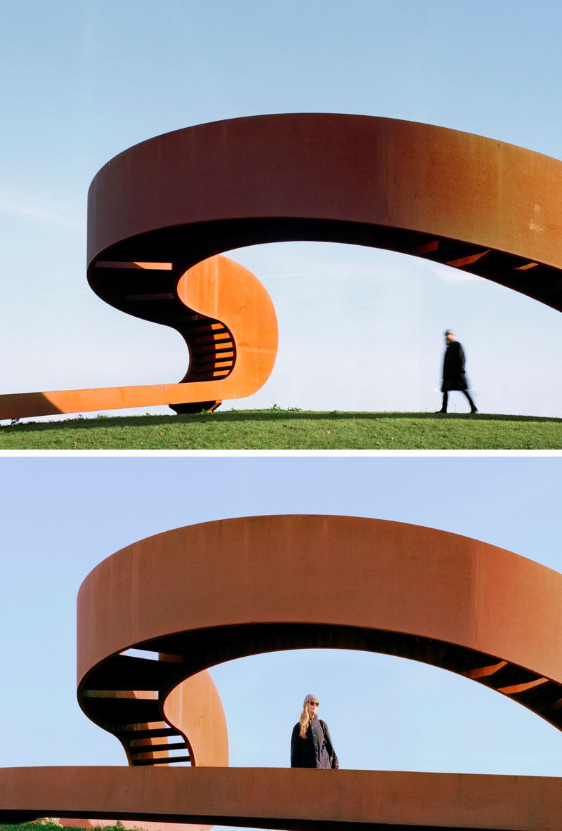 NEXT architects have designed a large weathered steel public sculpture that's based on the principal of the Moebius ring. #Sculpture #Design #PublicArt