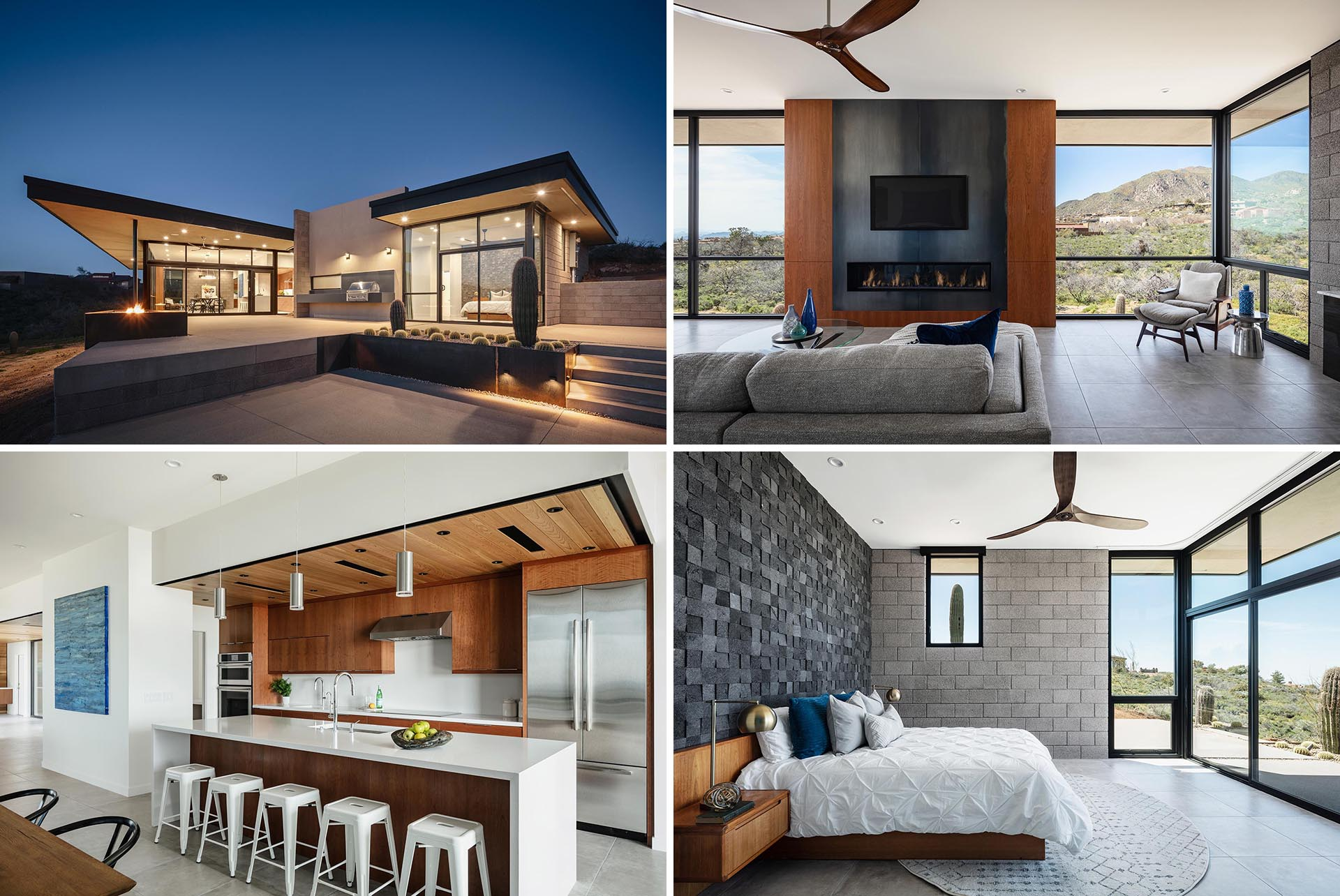 A modern desert home with an open plan interior and large windows with views of the surrounding area.