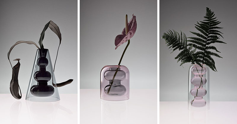 Tom Dixon has designed a series of three modern glass vases as part of his Bump collection. #GlassVase #ModernHomeDecor #HomeDecor