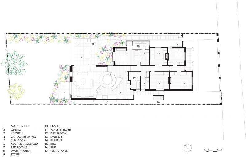 The floor plan of a modern house that received a new addition.