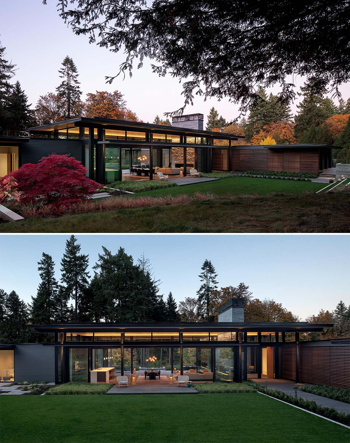 The home, which is nestled into the hillside, has a simple palette of wood, steel, stone, and glass.