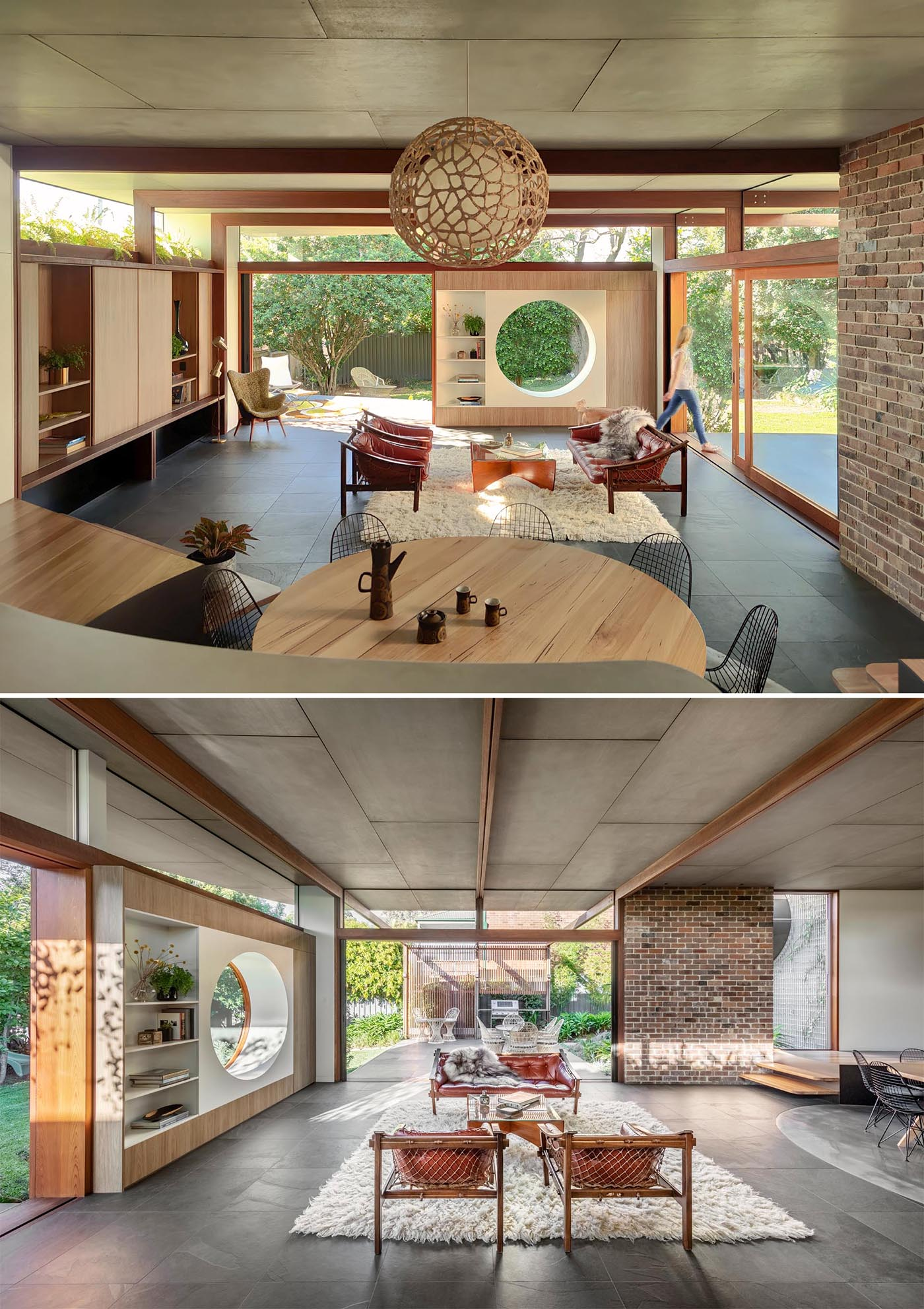 A modern living room with a circular window that's open to the outdoors.