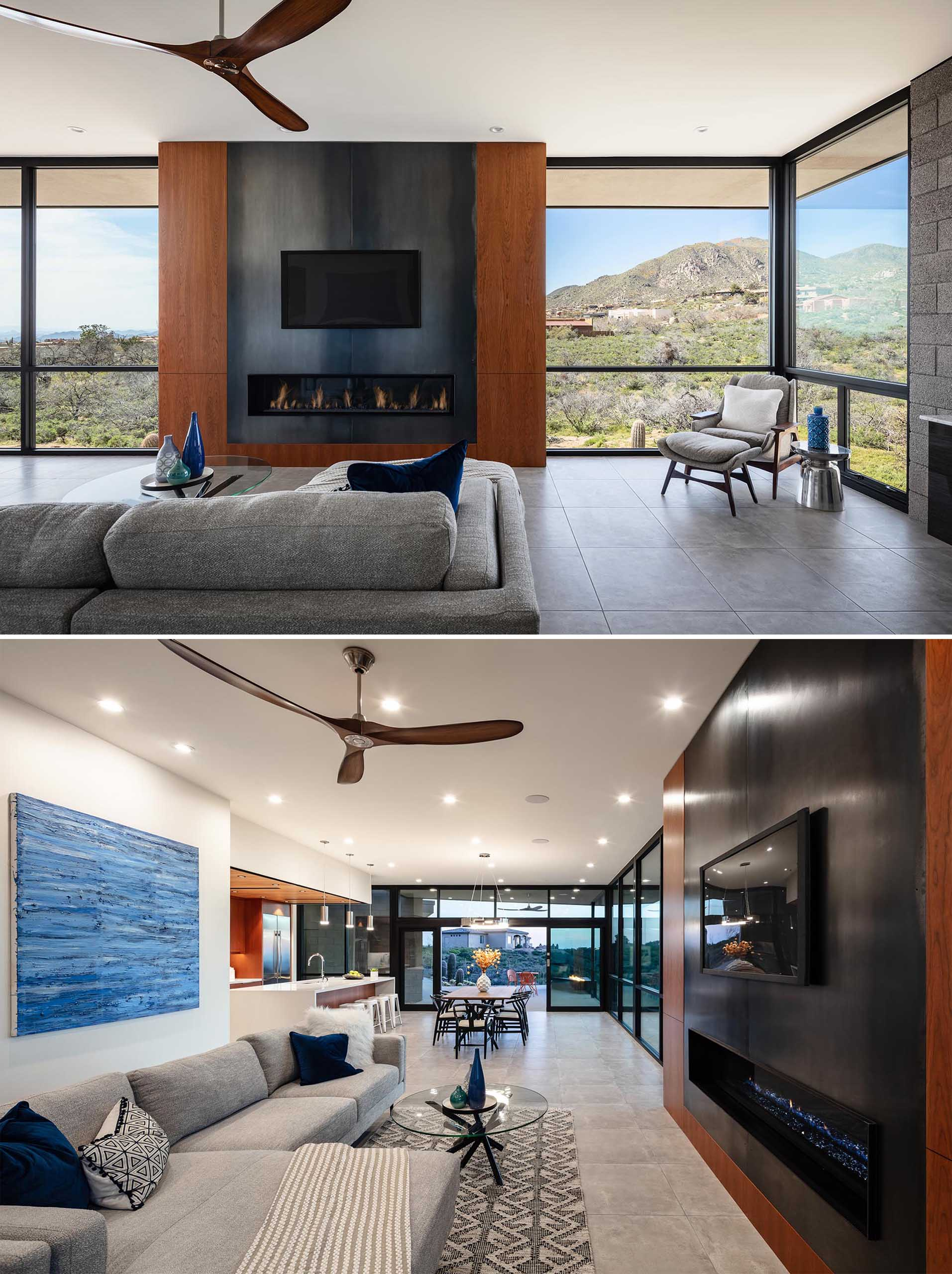 In this modern living room, there's a main fireplace and entertainment wall that showcases cherry veneer custom cabinets and oxidized steel fireplace panels.