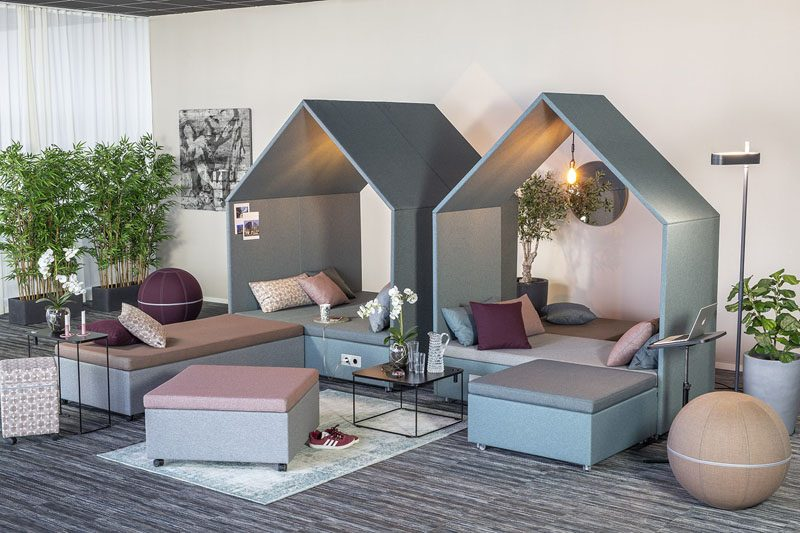 Named 'The Hut Lounge Collection', these modular furniture pieces with come together to create a seating area that can act as a meeting place   or somewhere to relax.  #OfficeFurniture #FurnitureDesign #ModernWorkplace #WorkplaceDesign #OfficeDesign