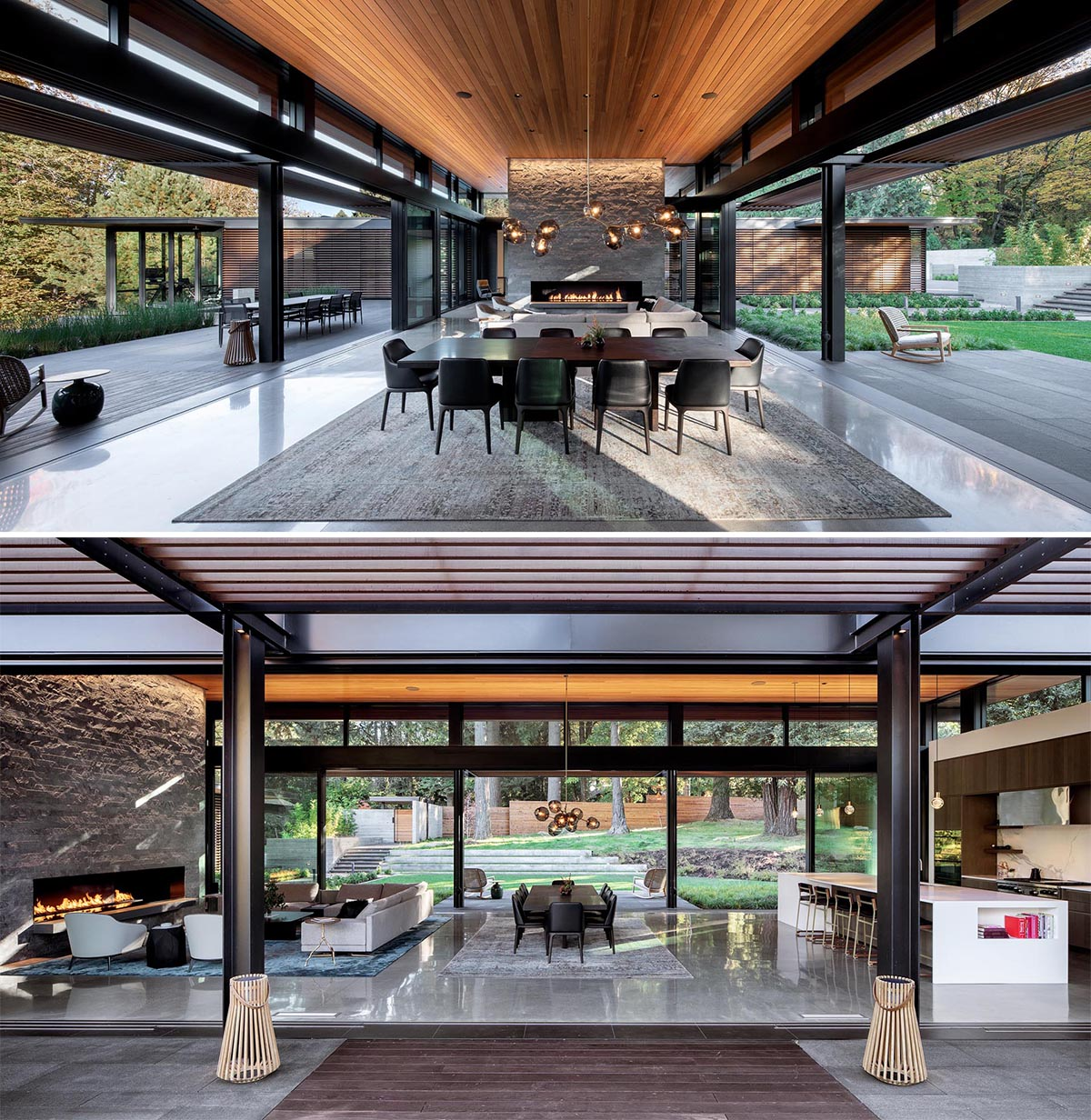 The main social areas of this modern home are gathered together in single open plan room with retractable glass doors and large glass walls on either side that open to expansive outdoor spaces.