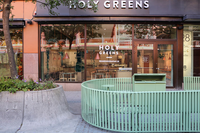 Stockholm-based architecture firm Blank have created an interior with a set of custom furniture for Holy Greens, a salad bar that's located in Stockholm, Sweden. #StreetFurniture #PublicSeating #RestaurantDesign