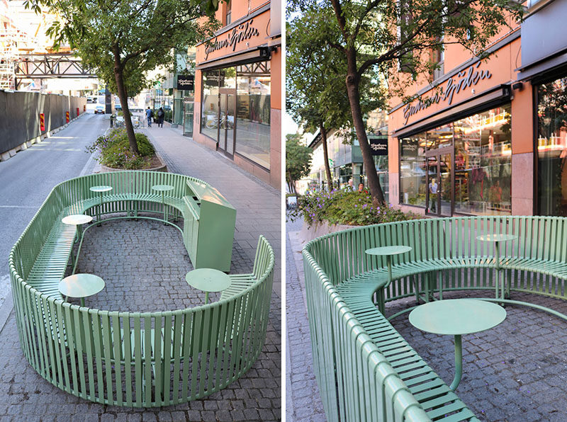 Created from green painted steel, this sculptural outdoor dining area, integrates seating, tables and recycling. #OutdoorSeating #StreetFurniture