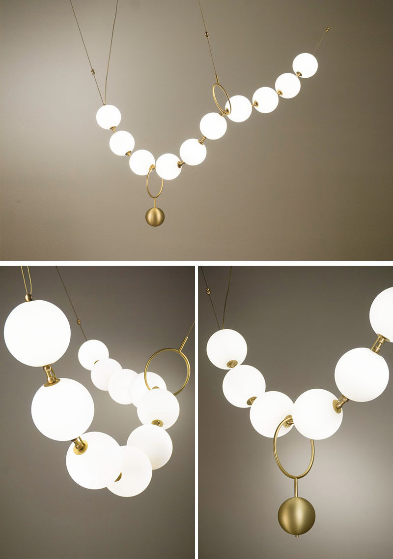 This sculptural light by Larose Guyon was inspired by a string of pearls, paying tribute to the artistic elegance of Gabrielle Chanel (Coco Chanel). #Lighting #Design