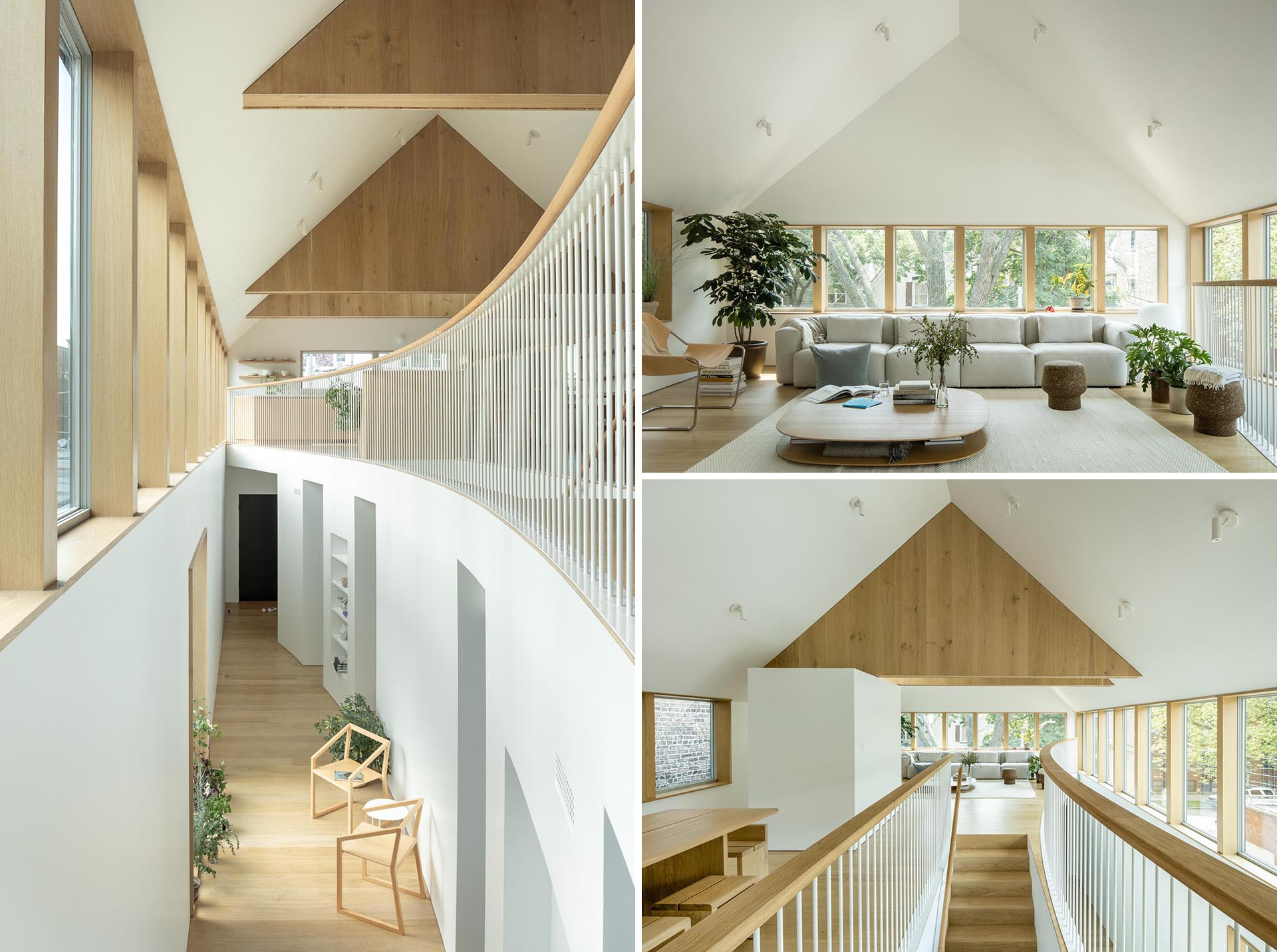 A modern white and wood home interior.