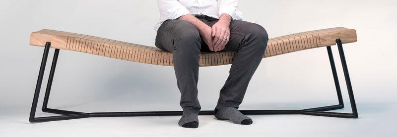 Mexican architect and designer, Ricardo Garza Marcos, has created the BEND Bench, a modern wood bench that features perpendicular cuts along the wood, allowing the seat to be flexible. #Bench #FurnitureDesign