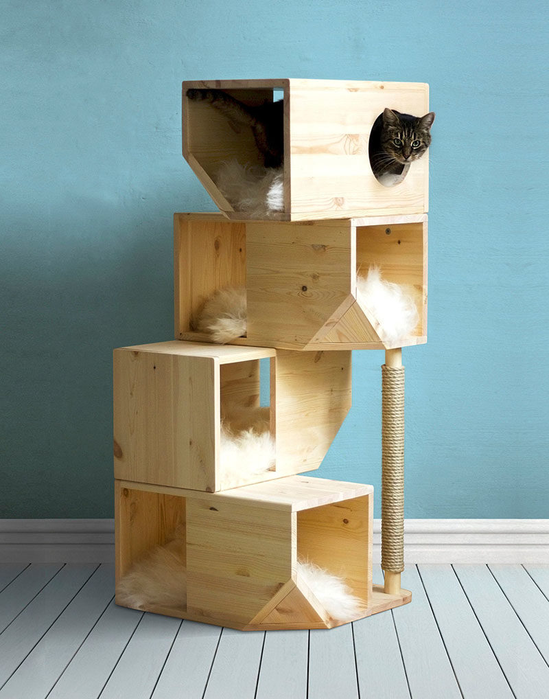 Ilshat Garipov of Catissa has designed a collection of modern cat beds and modular cat houses, that are made from pine wood and finished with sheepskin or faux fur. #ModernCatBed #ModernCatFurniture #ModernPetBed #ModularCatFurniture #CatBed #PetFurniture #CatTree