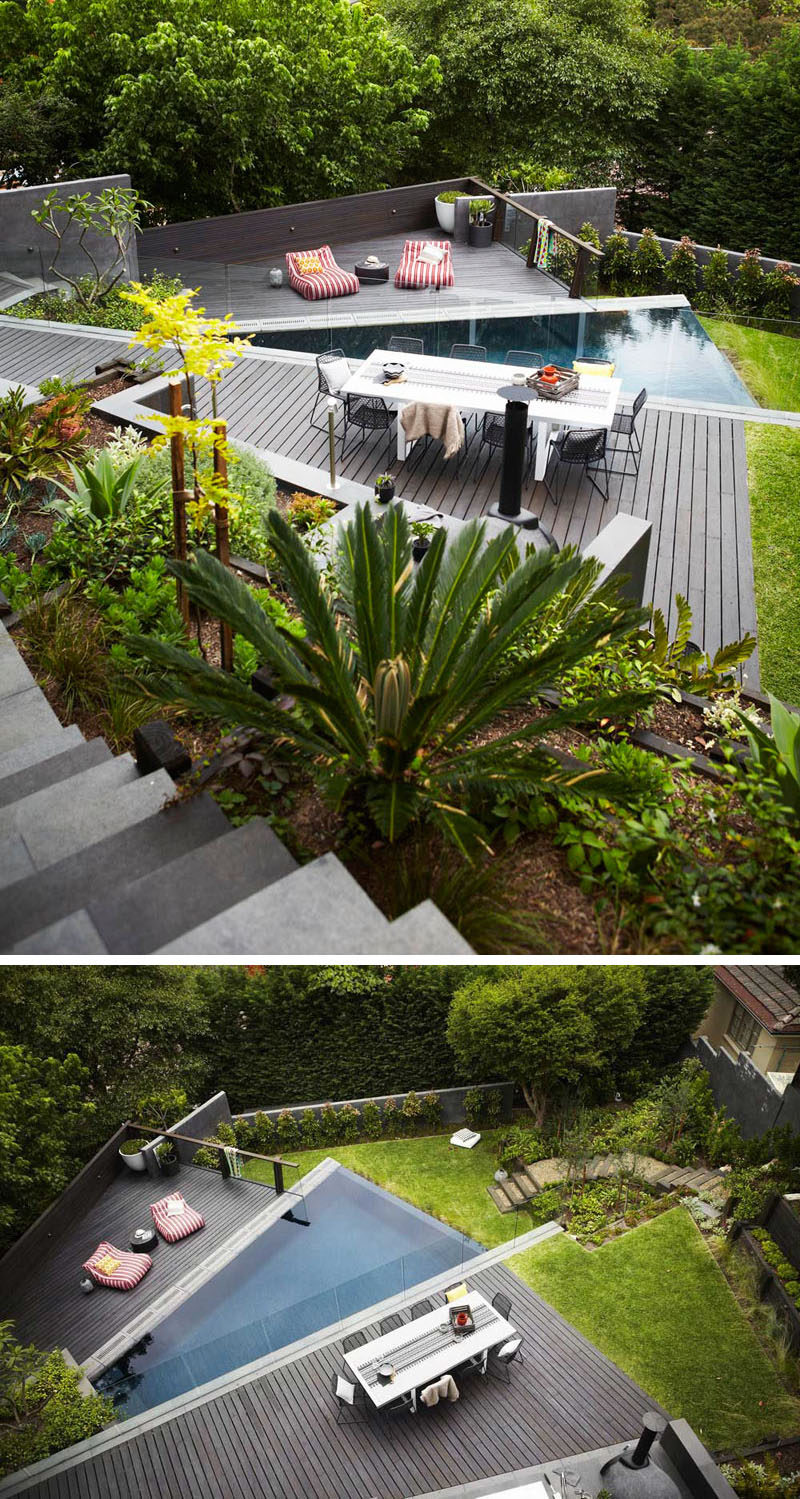 13 Multi-Level Backyards To Get You Inspired For A Summer Backyard Makeover // This backyard has multiple levels for entertaining and dining, and another for the pool and lounging.