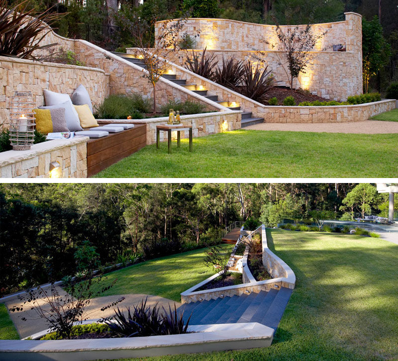 13 Multi-Level Backyards To Get You Inspired For A Summer Backyard Makeover // Two distinct areas separated by stone walls make this yard a perfect place for an outdoor event.
