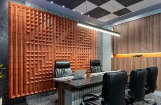 Clay Tiles Add Texture With Some Artistic Flair To This Workplace