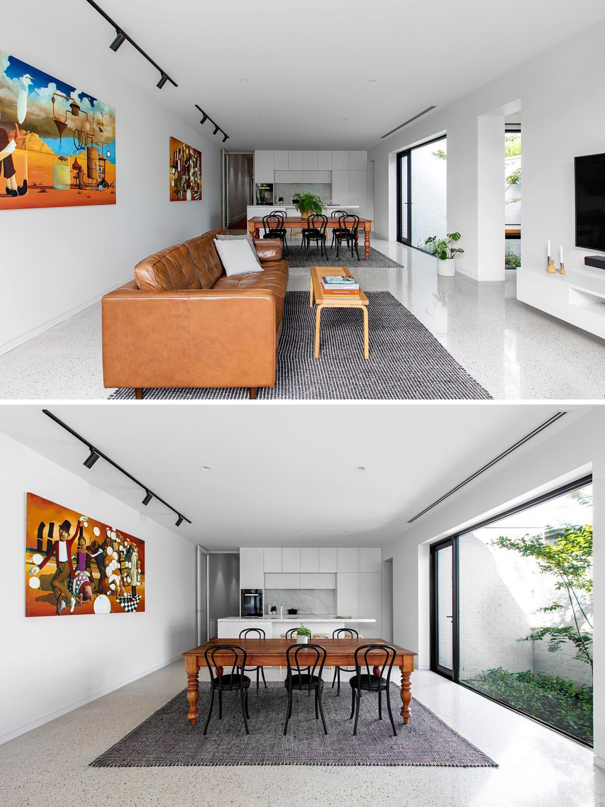 The social areas of this mdoern home, like the living room, dining area, and kitchen, share the same polished concrete floor. This helps to create a seamless look and due to its light color, it helps reflect light throughout the space.