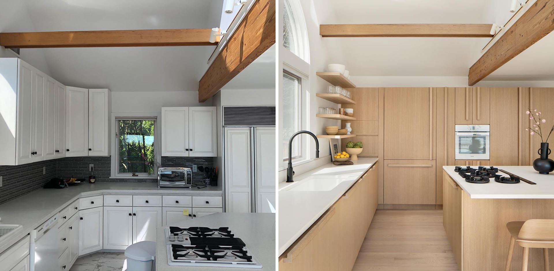 A remodeled kitchen with water-based white rift oak for the cabinets, a large island, and quartz countertops.
