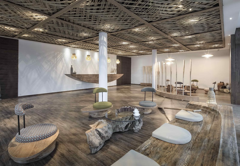 23 Pictures Of The Ripple Hotel At Qiandao Lake, In Hangzhou, China // The hotel lobby with woven ceiling detail.