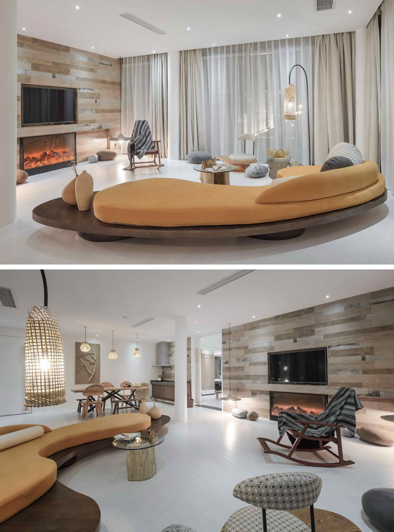 23 Pictures Of The Ripple Hotel At Qiandao Lake, In Hangzhou, China // The lounge area in a guest suite.