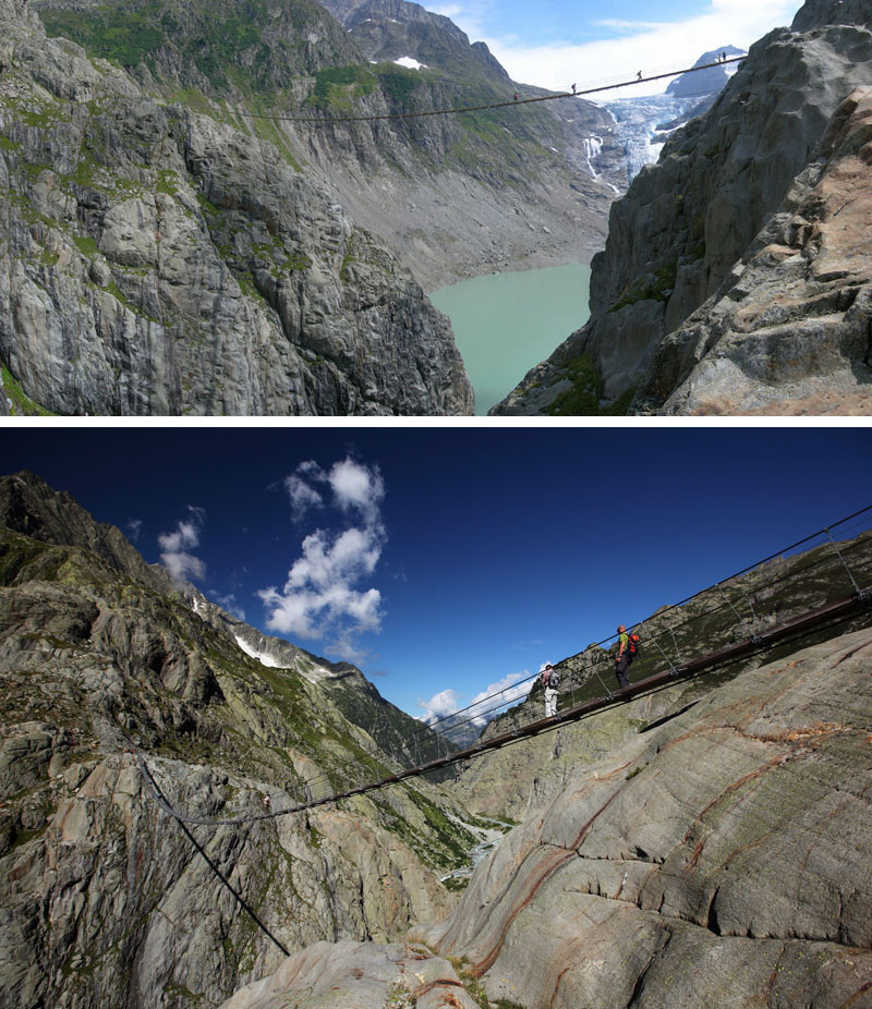 10 Of The Most AMAZING Suspension Bridges In The World // Stare down into the brilliant blue glacier water as you walk across Trift Bridge in Switzerland.