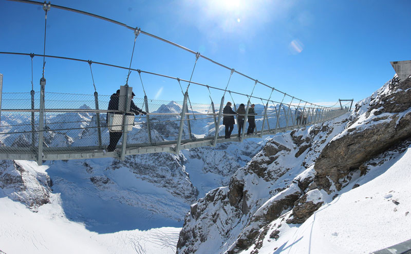 10 Of The Most AMAZING Suspension Bridges In The World // The cliff walk across Mount Titlis is the highest suspension bridge in Europe.