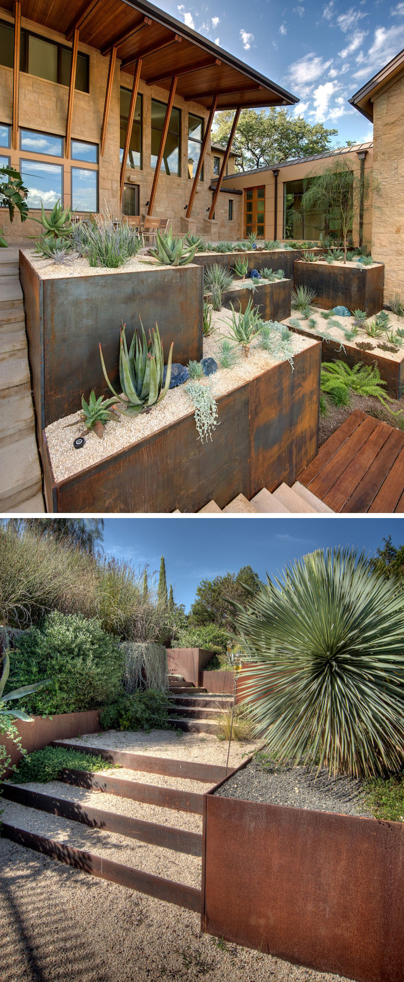9 Ideas For Including Weathering Steel Planters In Your Garden // The use of succulents and other desert plants in these weathered steel planters create a low maintenance garden that looks good all year round. #SteelGardenPlanters #WeatheredSteelPlanters #CortenSteelPlanters #Landscaping #GardenIdeas #PlanterIdeas